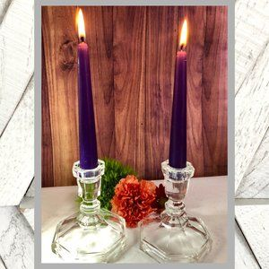 Vntg Crystal Cut Candle Sticks